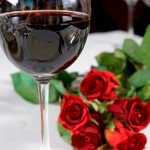 romantic wine and roses